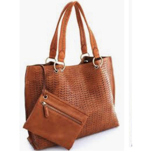 Chloe Embossed Vegan Tote Handbag Street Level