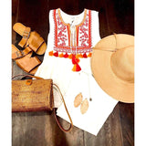 Adora THML Sleeveless Tassel White Embroidered Top