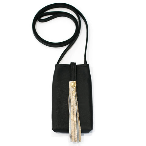 Catherine B Black and Gold Tassel Phone Purse