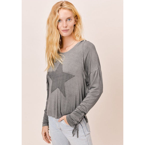 CopAlexa Grey Vintage Wash Hoodie Lovestitch Top