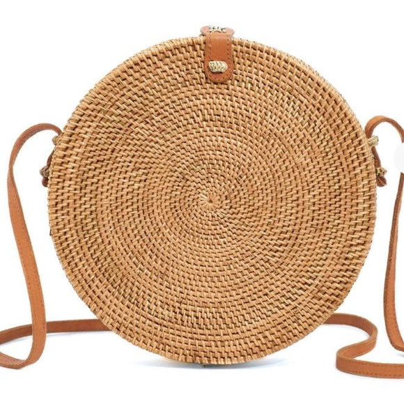 IMOSHION Round Straw Rattan Vegan Crossbody-Fig Tree Jewelry & Accessories