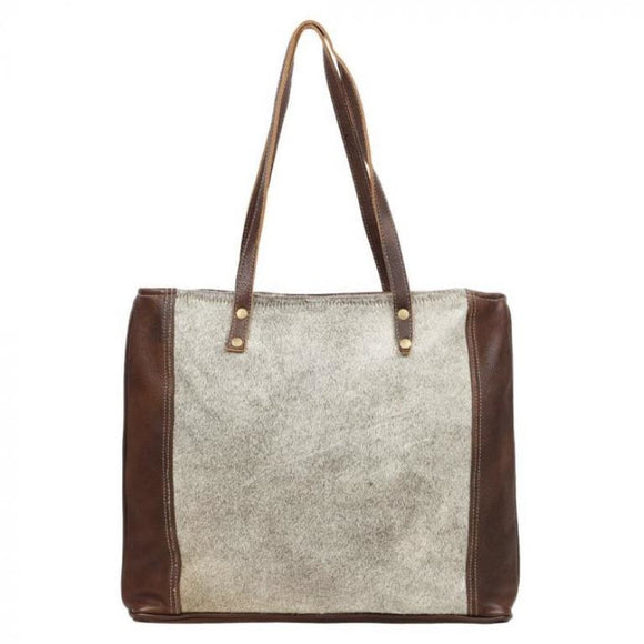 Caris Grey Cowhide Leather Tote Handbag