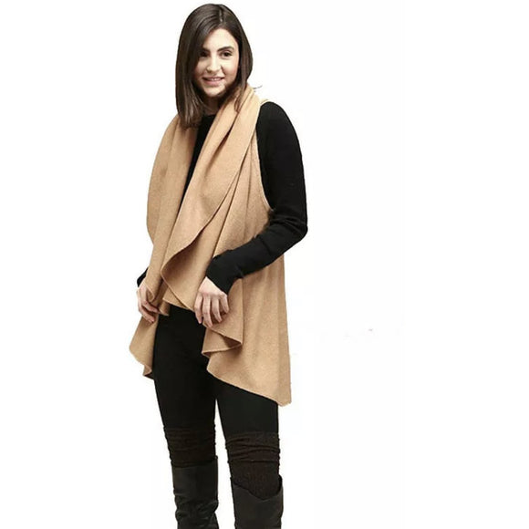 Chloe Camel Sweater Vest Shawl