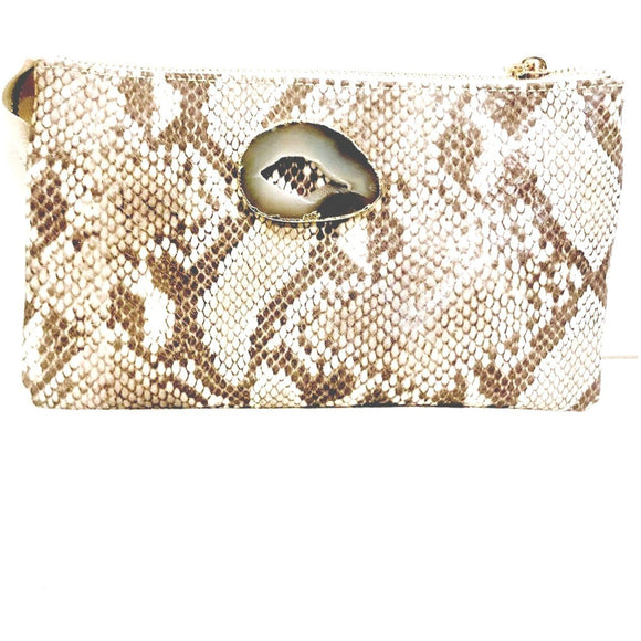 Ella Agate Python Print 3 Compartment Wristlet Crossbody-Fig Tree Jewelry & Accessories