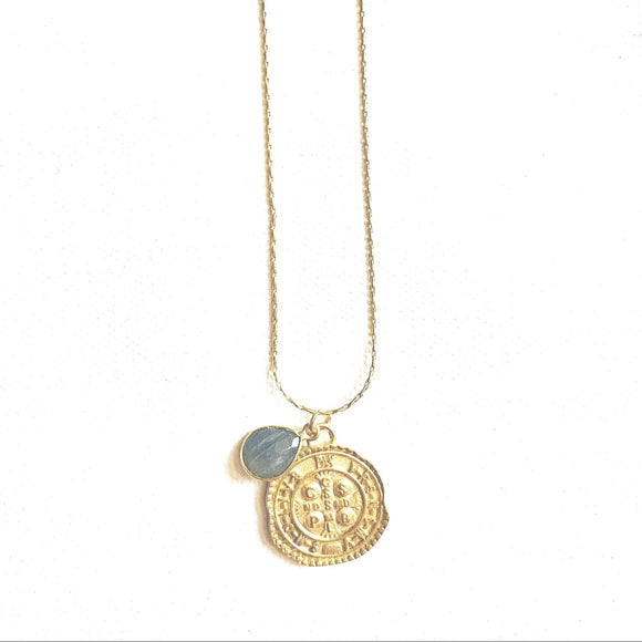 Zara Gold Coin & Labradorite Drop Necklace