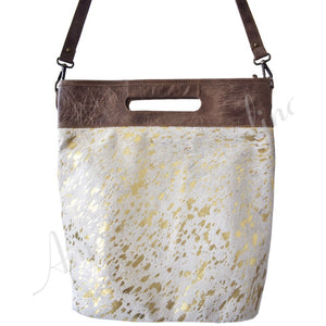 Brio Gold Acid Wash Cowhide Crossbody Handbag