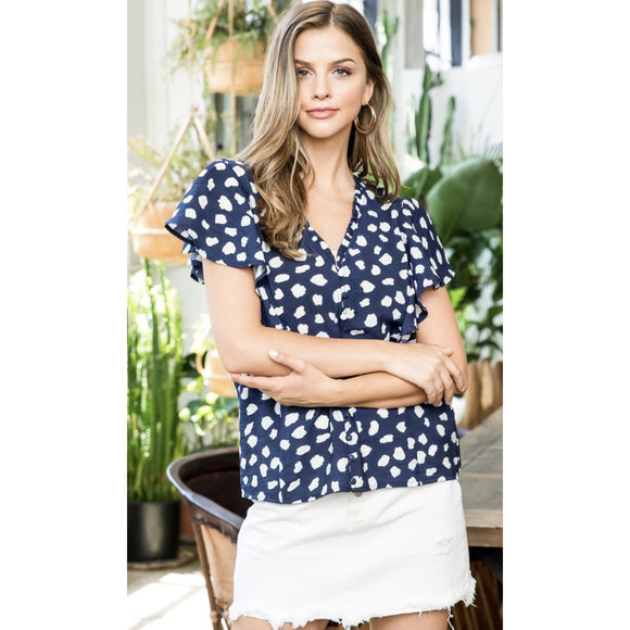 Acia THML Navy White Printed Top