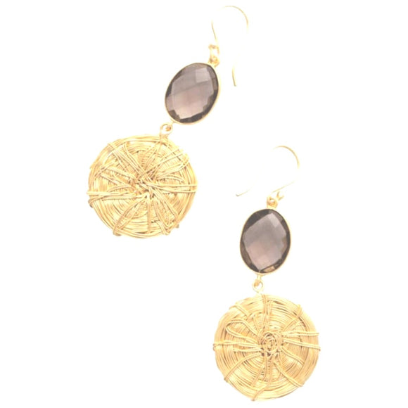 Brena Boho Stone Gold Mesh Drop Earrings