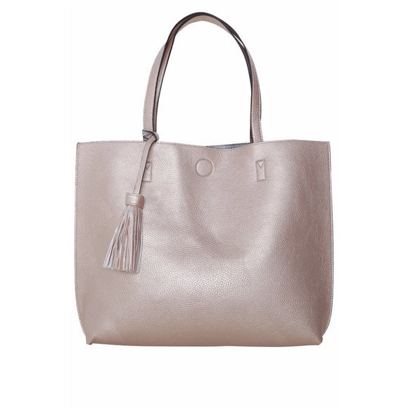 Chloe Gold Tassel Tote with Crossbody Inside Handbag-Fig Tree Jewelry & Accessories