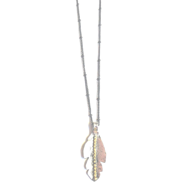 Joy Silver Feather Long Brushed Chain Necklace