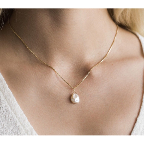 Emma Hanging Pearl Drop Necklace