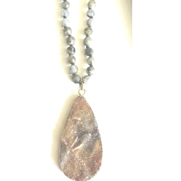 Anissa Druzy Long labradorite Necklace