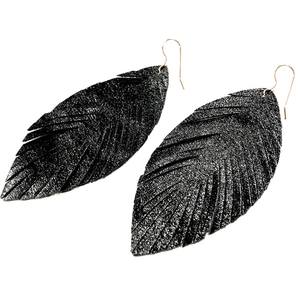 Alyssa Black Shimmer Feather Earrings
