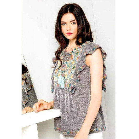 Hailey Embroidered Knit THML Top FTM1153