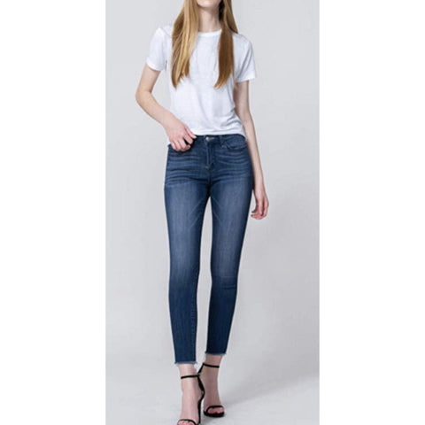 Vervet Dark Denim Frayed Skinny Jeans