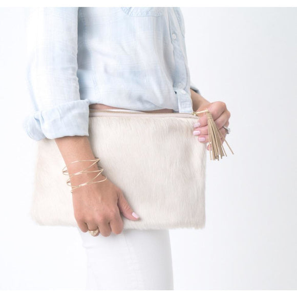 Lyn P Cream Tassel Cowhide Clutch Handbag