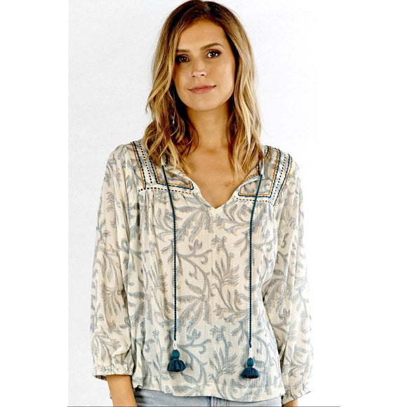 Nora Printed Overlay Tassel Lovestitch Top-Fig Tree Jewelry & Accessories