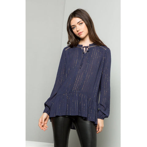 Ellie THML Long Sleeve Ruffle Top with Gold Trim jh383