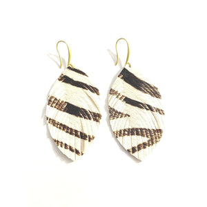 Alyssa Print Cowhide Feather Earrings