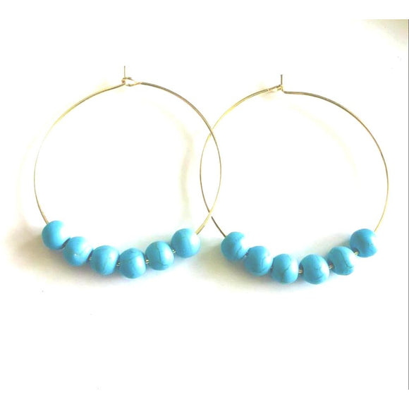 Addie Hoop Turq Beaded Earrings