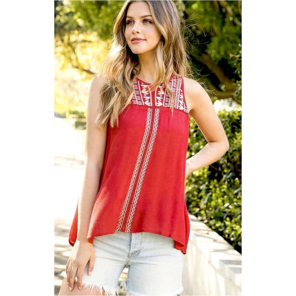 Melanie THML Red Halter Top tm4324