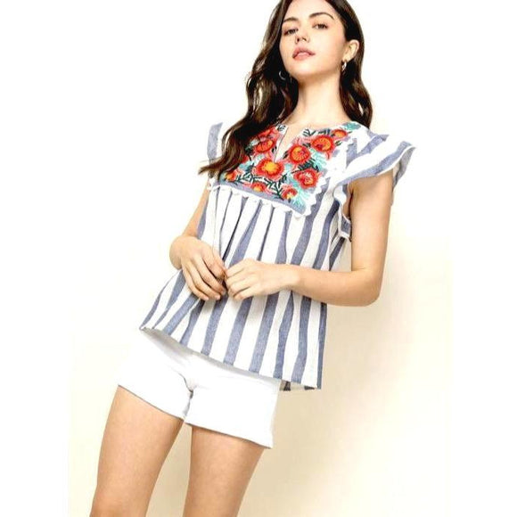 Alise THML Striped Embroidery Top