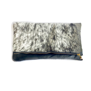 Cleo P Black Grey Cowhide Leather Clutch Handbag