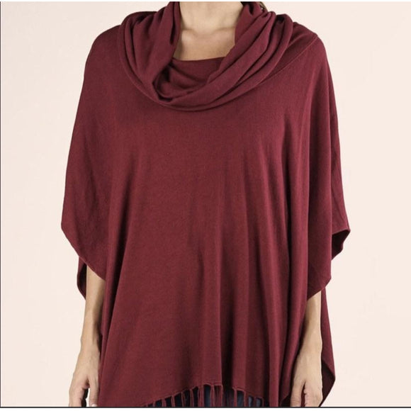 Emeila Burgundy Fringe Poncho Lovestitch