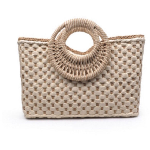 San Sebastian Natural Woven Top Handle Tote