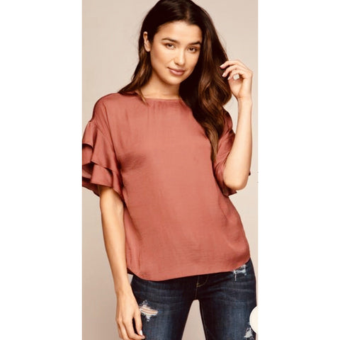 Brittany Soft Terracotta Ruffle Top