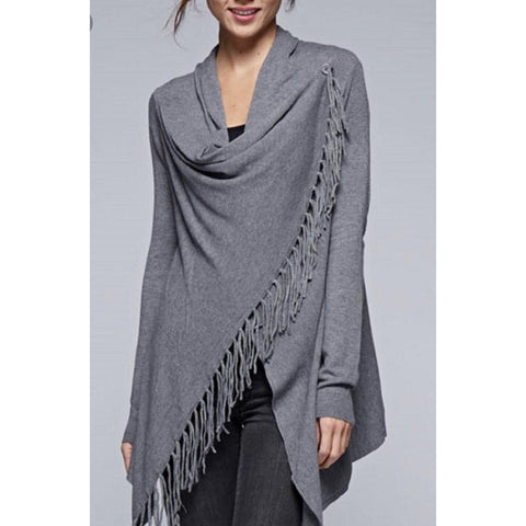 Carys Fringe Sweater (Grey)