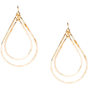 Bella Double Drop Hammered Gold Earrings