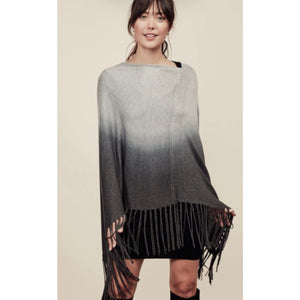 Emeila Fringe Black Grey Ombré Poncho Lovestitch