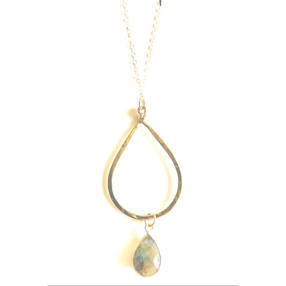 Avia Gold Hammered Labradorite Pendant Necklace