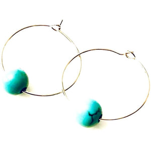 Amie Single Turquoise Bead Hoop Earrings