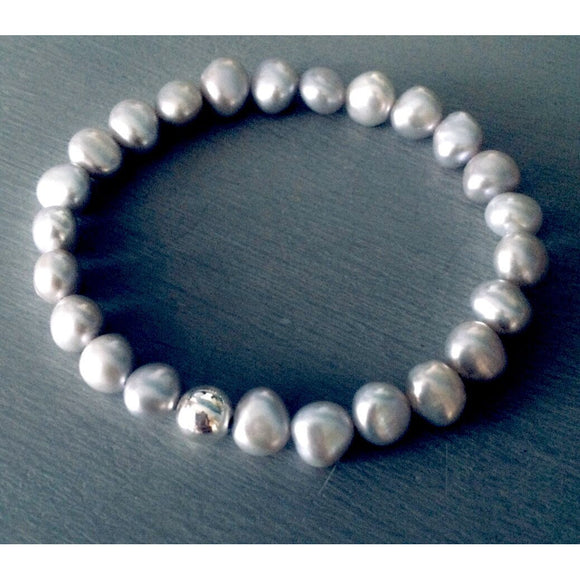 Lila Stacking Grey Real Pearl Beaded Bracelet