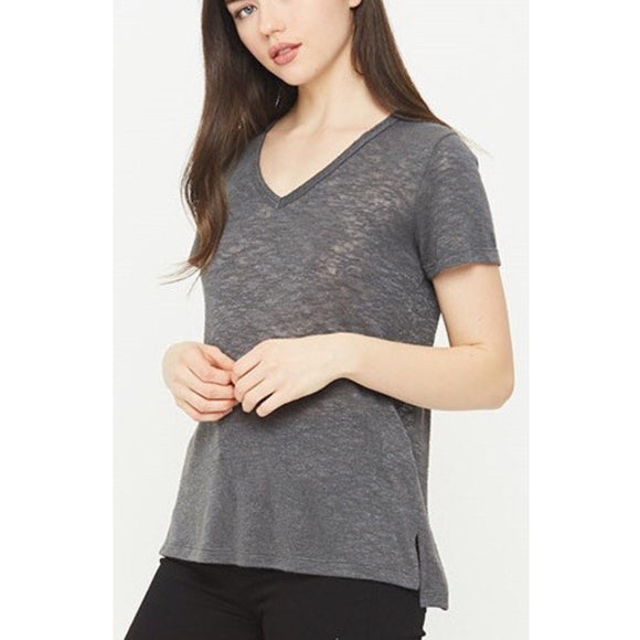 Melrose Charcoal V Neck T-Shirt by Comune C19X101-Fig Tree Jewelry & Accessories