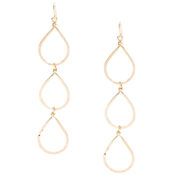 Bella Triple or Double Hammered Gold Pear Earrings