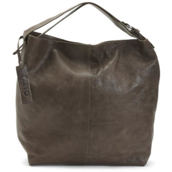 Lano Oversized Leather Grey Hobo Handbag