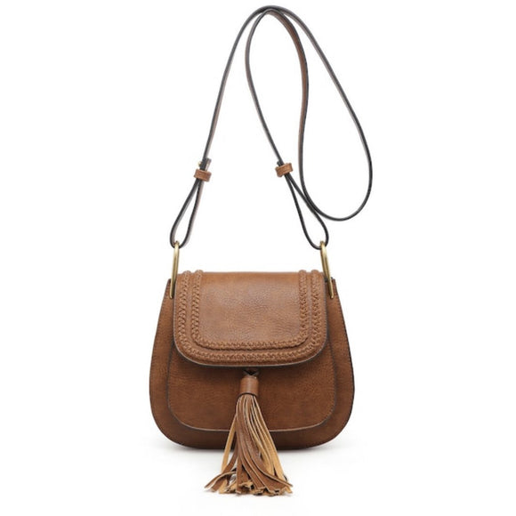 Jennifer Braided Brown Flap Over Tassel Crossbody Handbag
