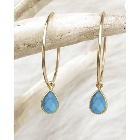 Amie Turquoise Hoop Earrings-Fig Tree Jewelry & Accessories