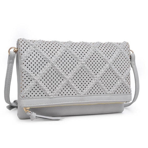 Moda Luxe Michelle Grey Clutch Crossbody Handbag