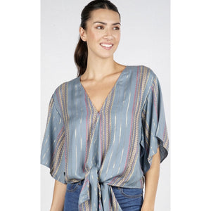 Allie Dusty Blue Tie Top Lovestitch :  I-11445W-QBP