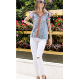 Lola Blue THML Embroidered V-Neck Top