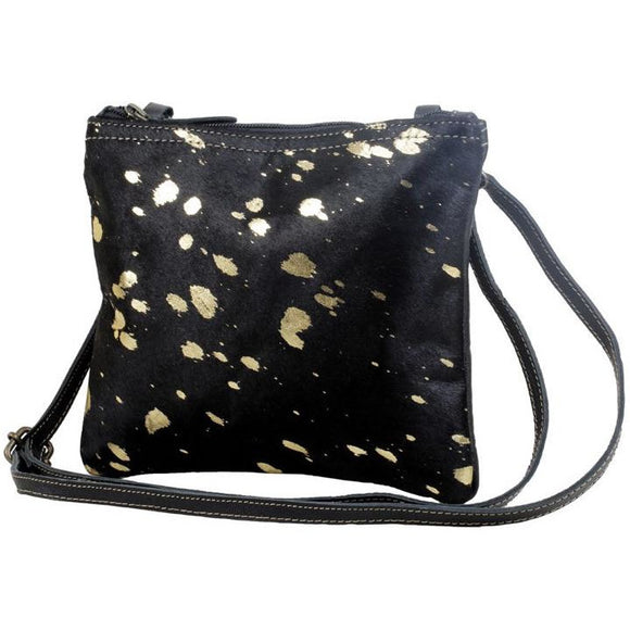 Brio Black Gold Accent Cowhide Crossbody Handbag