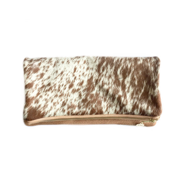 Alyn Agate Spotted Cowhide Leather Clutch Handbag-Fig Tree Jewelry & Accessories