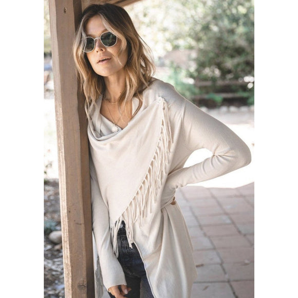 Carys Cream Fringe Sweater Lovestitch