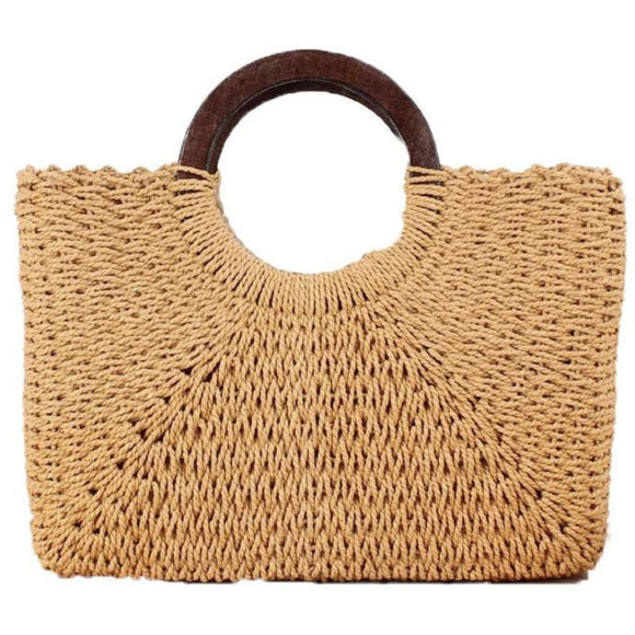 Imoshion Straw Woven Dark Handle Tote-Fig Tree Jewelry & Accessories