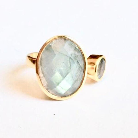 Abella Gold Labradorite Double Ring