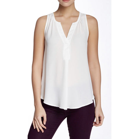Ali Cream Deep V Sleeveless Top